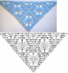Crochet diagram for a triangular shawl Crochet Wrap Pattern, Crochet Diagram, Crochet Stitches Patterns, Crochet Poncho, Crochet Chart, Crochet Scarves, Crochet Designs, Crochet Motif, Crochet Clothes