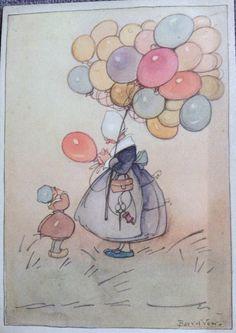 Het ballonnenvrouwtje  Ontw. Bas van der Veer Uitgave Ned. Bond tot Kinderbescherming December 1937