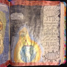 Let the nations stir themselves up...I will set out to judge the surrounding nations. #IlluminatedJournaling #illustratedfaith #biblejournaling #journalingBible #joel #pearlescentwatercolors