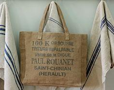 Cute burlap bag   French Larkspur