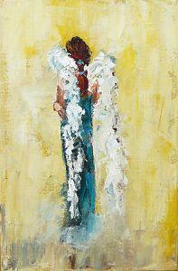 "Angel Watching by Judy Mackey Oil ~ 9"" x 6"""