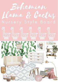 Boho Llama and Cactus Nursery Style Board – Dwell Beautiful – Baby Room 2020 Boho Nursery, Girl Nursery, Girl Room, Baby Room, Paisley Nursery, Rustic Nursery, Animal Nursery, Nursery Room, Kids Bedroom