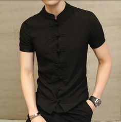 Chinese Style Mens Stand Collar Slim Casual Shirt Short Sleeve Solid Tops  Blouse. Camisas Manga Corta HombreCamisas ... c79d3dd0758