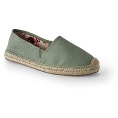 Lands' End Women's Espadrille Flats ($60) ❤ liked on Polyvore featuring shoes, flats, green, lands' end, flat pumps, green flat shoes, slip on espadrilles and flat heel shoes