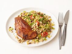 Chili-Rubbed Turkey Cutlets With Black-Eyed Peas from #FNMag