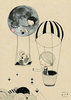 Image uploaded by 바네. Find images and videos about art, drawing and illustration on We Heart It - the app to get lost in what you love. Illustration Mignonne, Children's Book Illustration, Art Mignon, Grafik Design, Art Design, Cute Art, Illustrators, Balloons, Air Balloon