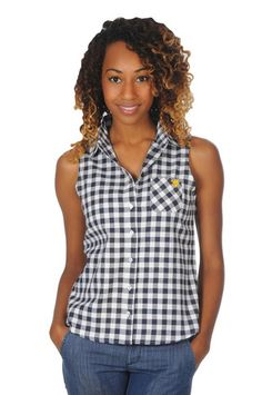 Show off your WVU pride in our West Virginia Mountaineers Sleeveless Plaid Top! A perfect wardrobe staple for any true Mountaineers fan! Sleeveless button up gingham plaid top. - University Girls Apparel