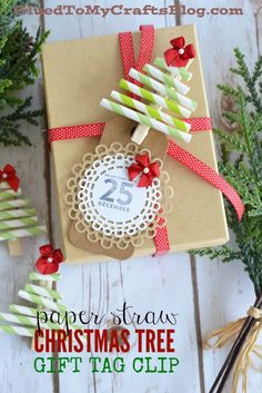 Paper Straw Christmas Tree Gift Tag Clip