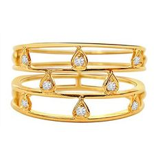Trendy Diamond and Gold Ring -