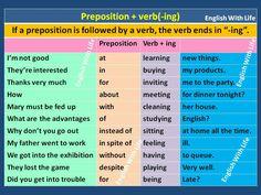 Preposition + verb ( ING)