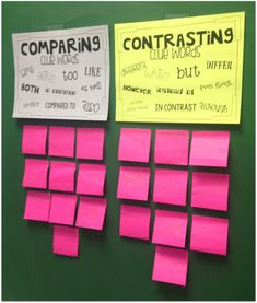 Compare Contrast Clue Words! Each child gets two post it's and uses the clue words to do both.