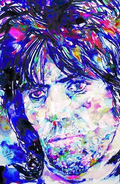 Keith Richards - Watercolor Portrait Print By Fabrizio Cassetta