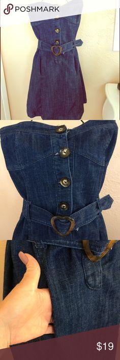 Amazing BOOM BOOM strapless Denim dress Amazing BOOM BOOM strapless Denim dress with heart belt size L boom boom jean  Dresses Midi