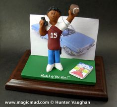 Car Loving Guy's Christmas Gift  www.magicmud.com 1 800 231 9814 creating a custom made gift figurine for any man based on the things he likes to do! ...incorporating his work, sports, family, hobbies, food, drink, electronic gadgets, etc. $225   #dad #men #guys #car_guy #christmas #birthday #anniversary #custom #personalized #xmas #present #award #ChristmasGift #BirthdayGift #husband