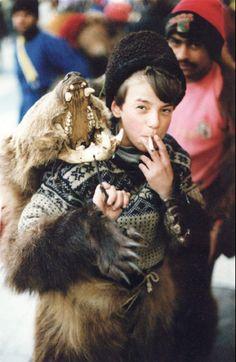 Gypsy: Romani ( boy in bear costume, working the Christmas crowds; Gypsy Caravan, Gypsy Wagon, Gypsy Life, Gypsy Soul, Gypsy People, Gypsy Culture, Bear Costume, Vintage Gypsy, World Photo