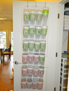 future idea for freeze dried food storage! future idea for freeze dried food storage! Shoe Storage Hanger, Door Shoe Organizer, Food Storage Organization, Can Storage, Thrive Food Storage, Shelf Reliance, Thrive Life, Freeze Drying Food, Household Cleaning Tips