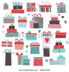Set of vector colorful present boxes. Present design illustration. Gifts For Teens, Gifts For Women, Textile Patterns, Textiles, Christmas Illustration, Pattern Illustration, Best Friend Gifts, Thanksgiving Decorations, Christmas Crafts