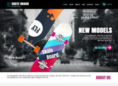 Take your skateboard shop live with an eCommerce theme that's cool, young, and modern. Promote top sellers on the homepage and customize the photo galleries to showcase your products by category. Add a helpful FAQ to anticipate customer queries. Business Website Templates, Free Website Templates, App Ui Design, Web Design, Skateboard Design, Skateboard Shop, Website Layout, Website Ideas