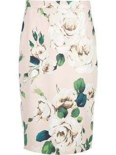 DOLCE and GABBANA Cabbage Rose Print Pencil Skirt. Cream silk blend featuring a green cabbage rose print design.