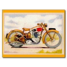 Vintage Motorcycle Print Post Card