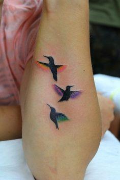 Cute three little birds forearm tattoo