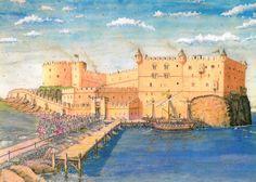 Dunbar Castle Scotland, now in severe ruins but crosses across the Dunbar Harbor