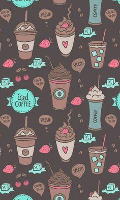 Imagen de wallpaper, coffee, and background Wallpaper Free, Kawaii Wallpaper, Tumblr Wallpaper, Mobile Wallpaper, Pattern Wallpaper, Wallpaper Quotes, Cute Backgrounds, Cute Wallpapers, Wallpaper Backgrounds