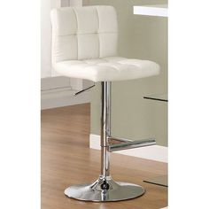 $94 Cream Adjustable Stool With Padded Straight Line Back Coaster Stationary Bar Stools Kitche