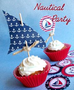 A Preppy Nautical Birthday Party Deserts Table Nautical Cupcake, Nautical Party, Nautical Wedding, Party Printables, Easter Printables, Cupcake Toppers, Sailor Party, Sailor Birthday, Fiesta Marinera