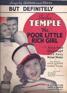 Shirley Temple, The Poor Little Rich Girl, But Definitely, Vintage Sheet Music, Fox Picture, Alice Faye, Jack Haley, Classic Movie Musical by BettywasaBombshell on Etsy