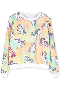 Chic Unicorn Pattern Sweatshirt