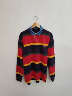 ba450ce9393 Vintage 90s GANT USA Flag Mongram Colorful Stripes Polo Rugby Shirt Size L