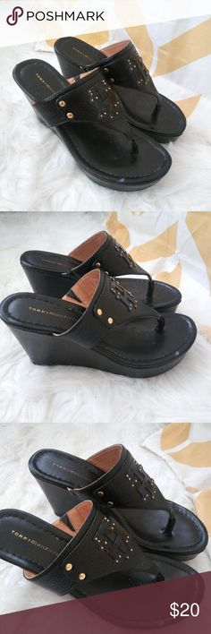 9f03ff397 Shop Women s Tommy Hilfiger Black size 7 Wedges at a discounted price at  Poshmark. Sold by thrifting gypsy. Wedge Flip FlopsFlip ...