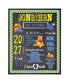 First Birthday Chalkboard / Winnie the Pooh Birthday Chalkboard / Girl or Boy 1st Birthday Chalkboard / First Year Birthday Invitation