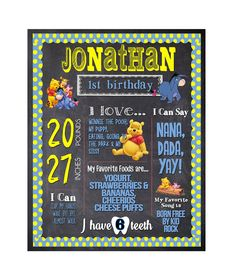 First Birthday Chalkboard / Winnie the Pooh by partyprinters