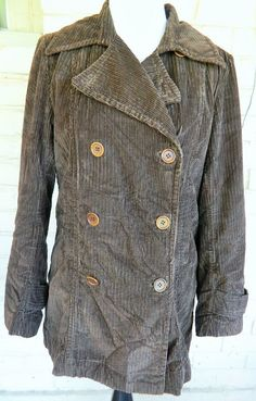 J. Crew Corduroy Coat Peacoat Button Down Zip Out Flannel Lining Brown Size M #JCrew #Peacoat