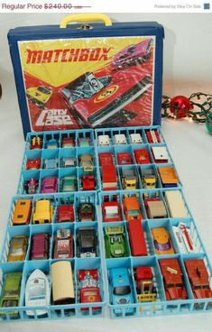 """Matchbox car case Craig had tons of these. His favorite was a """"pink Cadillac what had doors what open """" Matchbox car case Craig had tons of these. His favorite was a pink Cadillac what had doors what open Matchbox Autos, Matchbox Cars, 1970s Toys, Retro Toys, Vintage Toys 80s, Childhood Toys, Childhood Memories, Rosa Cadillac, Pink Cadillac"""