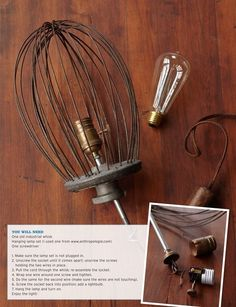 DIY re-purpose for antique whisk attachment and an Edison bulb. So cute for a kitchen light.