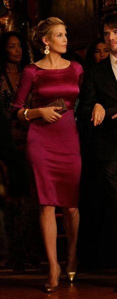 Kelly Rutherford and Alberta Ferretti Purple Silk Dress