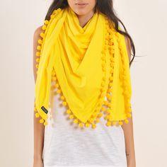 Pom Pom Scarf Yellow