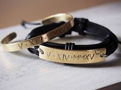 Gold Couples bracelet, Matching couple bracelets, Anniversary date bracelets Roman numeral engraved roman numeral bracelets for couples