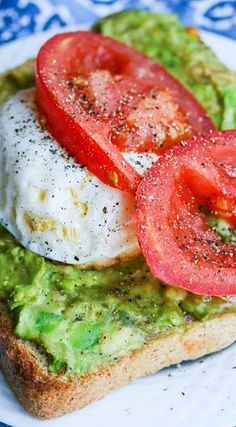 Breakfast Smashed Avocado Tomato Toast with Fried Poached Egg