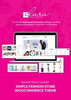 Simple Fashion WooCommerce Theme  WP Clara eCommerce (WooCommerce)  WP Clara is a best Simple Fashion WooCommerce Theme with Advanced Theme Customizer clean and minimal design style perfectly suitable for opening ecommerce store with low budget and time saving.  Theme includes: Visual Composer content builder plugin; Revolution Slider plugin; WooCommerce; Wishlist; Quick-View; Product attribute Color Swatches Image Swatches; Portfolio plugin; drag & drop Header & Footer builder; unlimited…