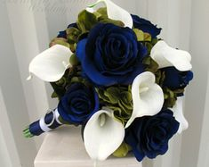 Wedding bouquet coral navy bouquet calla lily rose bridal