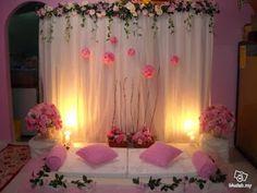 Hannah Sytieh : DIY Mini Pelamin Pelamin Simple, Diy Pelamin, Simple Stage Decorations, Indoor Wedding Decorations, Diy Backdrop, Backdrops, Wedding Arrangements, Floral Arrangements, Cradle Ceremony