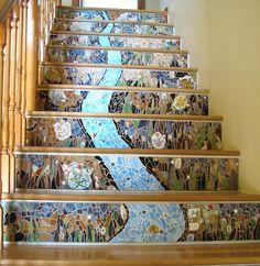 Mosaic stair risers, via Flickr.