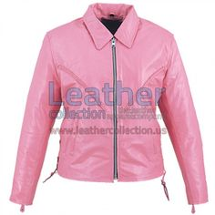 Braided Ladies Pink Leather Jacket, with front zipper closure, two side zipper pockets, left/right braided design on front, zipper sides and zipper cuffs. Made with high quality lightweight nappa leather.