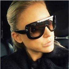 f6c4f44539 Oversized Flat Top Vintage Women Fashion Shield Large Sunglasses Thick  Frame Gold Sunglasses