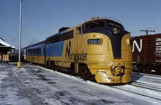 Here's one of the replacement F's with a TEE consist at North Bay in January Train Pictures, Train Stations, Locomotive, Ontario, Trains, Diesel, January, Canada, Photos