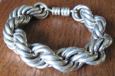 Vintage Mexican Sterling Silver chunky bracelet by VintageOrganic, $210.00